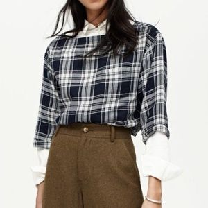 Madewell Herald Plaid 3/4 Sleeve Cropped Top